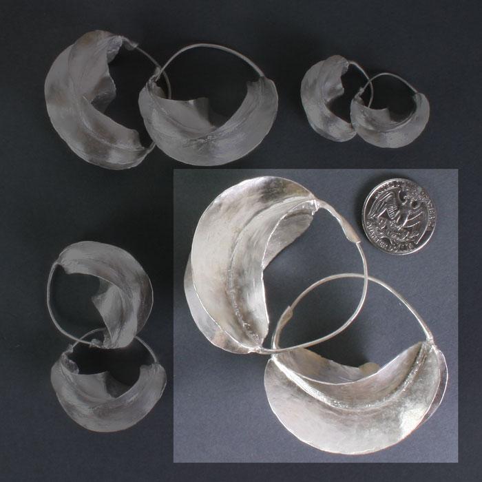 """Fulani Sterling Silver Earrings 2 1/4"""""""