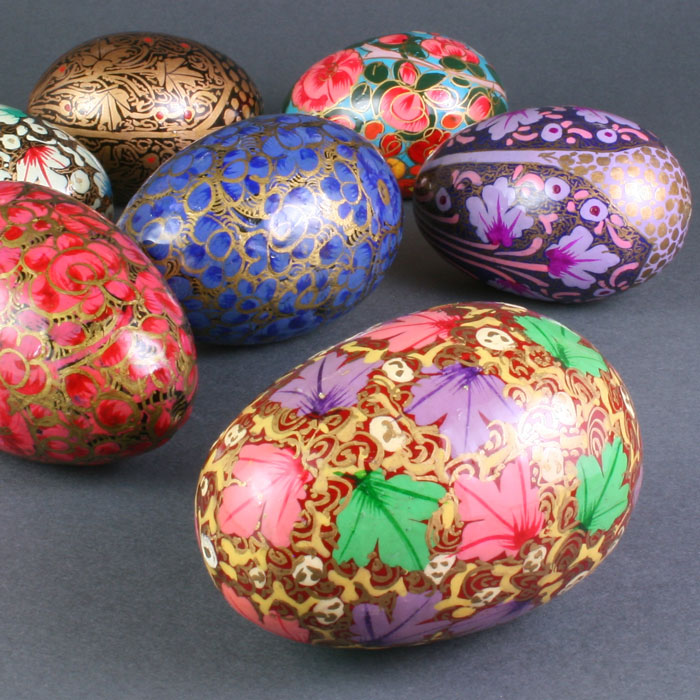 """3"""" Hand Painted Wooden Eggs"""